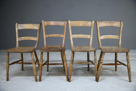 4 Rustic Elm Country Kitchen Chairs (1 of 14)
