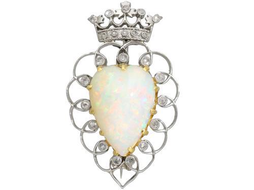 5.95ct Opal & 0.35ct Diamond, Platinum Brooch - Antique Victorian (1 of 9)
