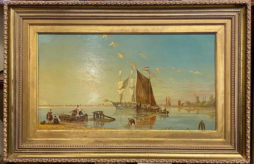 Louis Dommersen – 'Elburg on The Zuider Zee' – Late 19th Century Oil on Panel (1 of 4)