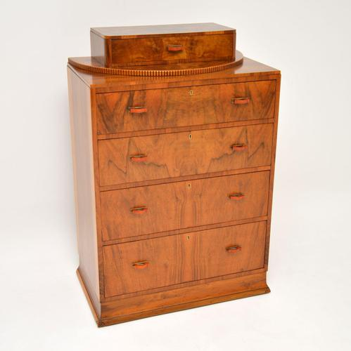 Art Deco Figured Walnut Chest of Drawers (1 of 12)
