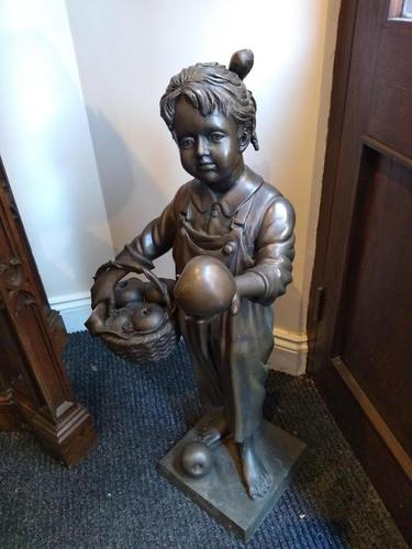 A Bronze Of A Young Girl With A Basket Full Of Apples (1 of 7)