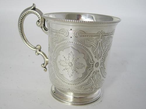 Victorian Tapering Cylindrical Silver Christening Mug with Scroll Handle (1 of 5)