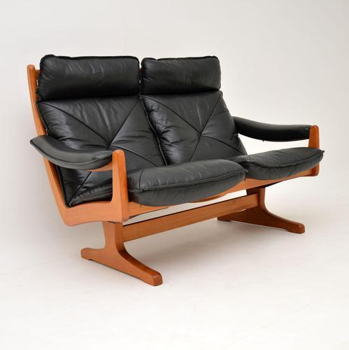 1970's Vintage Teak & Leather Sofa by Soda Galvano (1 of 10)