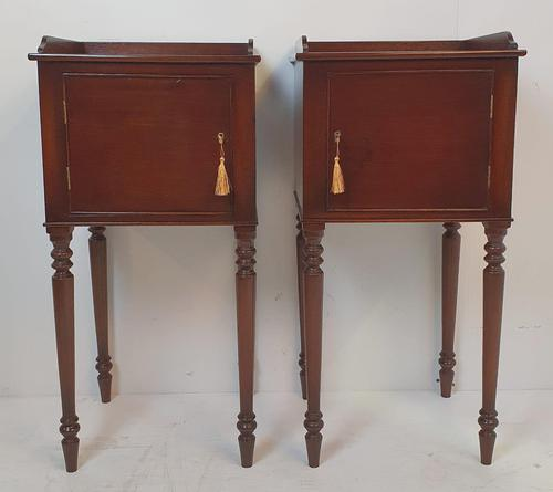 Pair of 20th Century Mahogany Bedside Tables (1 of 3)
