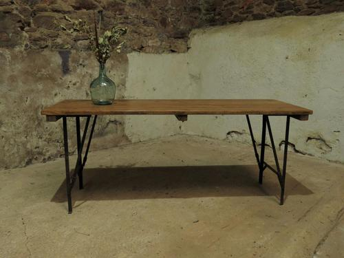 Industrial Vintage Folding Trestle Dining Table with Metal Legs & Reclaimed Top (1 of 17)