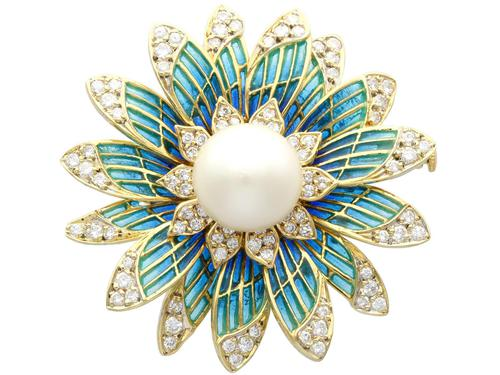 Pearl and 2.05 ct Diamond, 14ct Yellow Gold Plique-a-Jour Brooch - Vintage Circa 1950 (1 of 9)