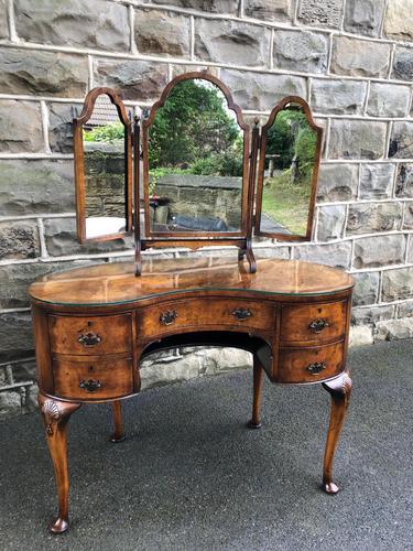 Antique Burr Walnut Kidney Shaped Dressing Table (1 of 12)