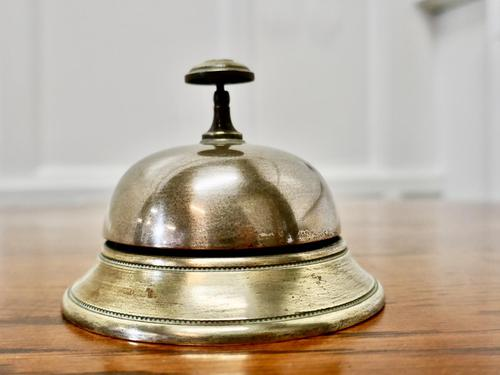 Victorian Brass Courtesy Counter Top Bell, Reception Desk Bell (1 of 5)