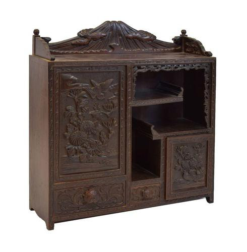 Antique Japanese Carved Wood Tabletop Cabinet c.1900 (1 of 15)