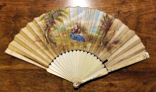 Rare Mid 18th Century French Watercolour with Sold Silver Pique Work Hand Fan (1 of 12)