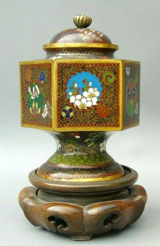 Japanese Cloisonne Lidded Vase on Hardwood Stand (1 of 7)