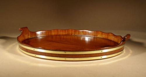 Very Decorative & Useful Original Oval Mahogany Coopered Tray (1 of 9)