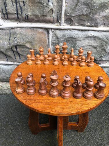 Antique Boxwood & Mahogany Chess Set (1 of 6)