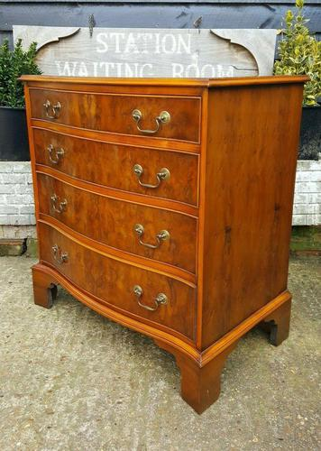 Burr Yew Serpentine Front Chest of Drawers (1 of 5)