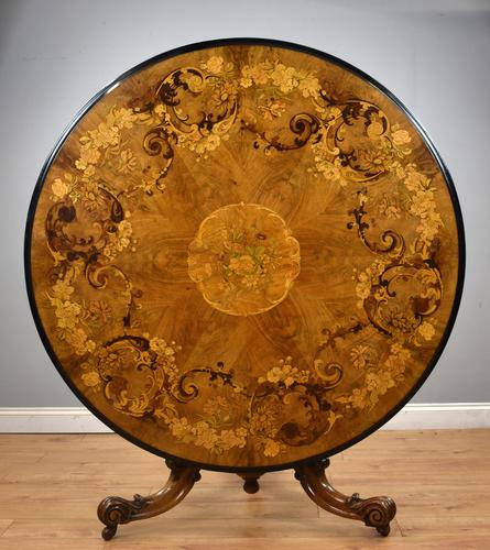 Victorian Walnut Marquetry Inlaid Circular Table (1 of 15)