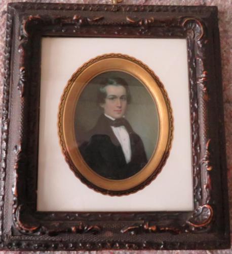 Miniature Portrait Victorian Gentleman 1880 Hand Painted (1 of 4)
