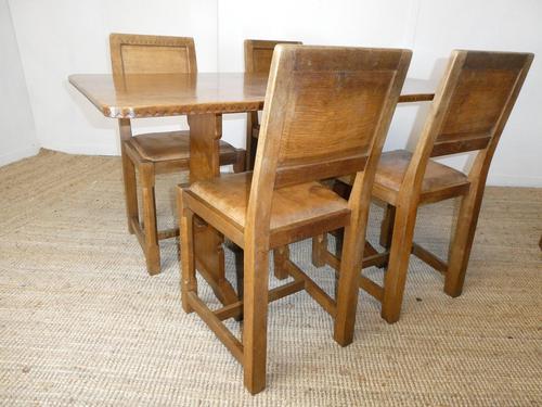 Yorkshire ( Lizardman) Oak Table & 4 Chairs (1 of 13)