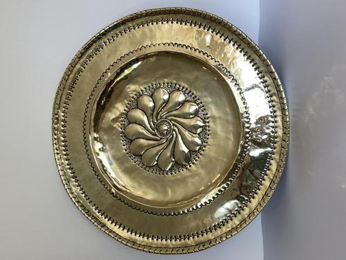 Large Antique Circular Brass Alms Dish (1 of 6)