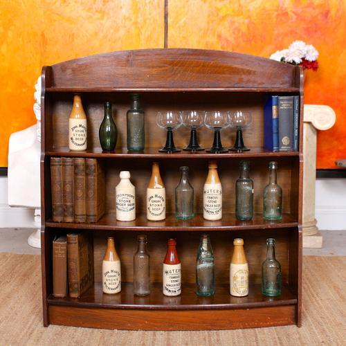 Oak Open Bookcase Bowfront Waterfall Bookshelves (1 of 9)