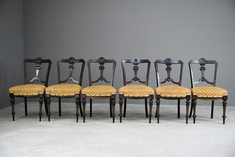 6 Victorian Aesthetic Movement Dining Chairs (1 of 13)