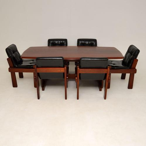 Rosewood & Leather Dining Table & Chairs Vintage 1970's (1 of 19)
