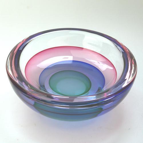 "Large 9"" Murano Sommerso Luigi Onesto Cedenese Coloured Bowl c.1960+ (1 of 10)"