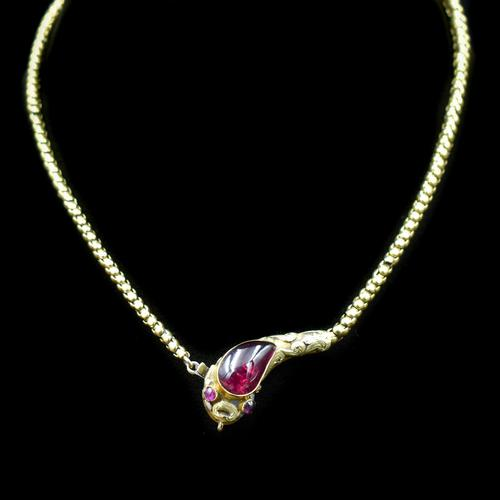 Antique Victorian Cabochon Garnet Yellow Gold Snake Serpent Necklace (1 of 11)