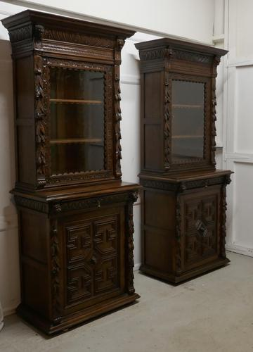 Pair of French Carved Gothic Oak Bookcases (1 of 12)