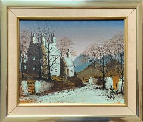 Ronald Folland Original Signed Winter Hamlet Landscape Oil Painting (1 of 12)