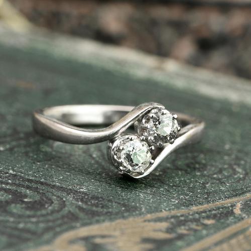 The Toi Et Moi Dial Old European Cut Vintage Diamond Ring (1 of 7)