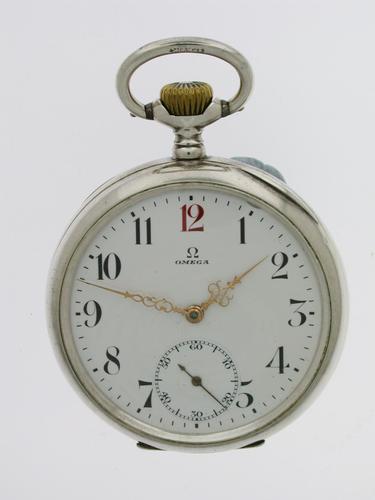 Silver 0.800 Omega Open Face Pocket Watch Swiss 1900 (1 of 7)