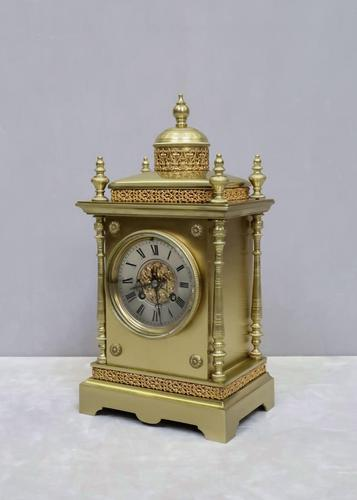 French Belle Epoque Brass Mantel Clock by Japy Freres (1 of 7)