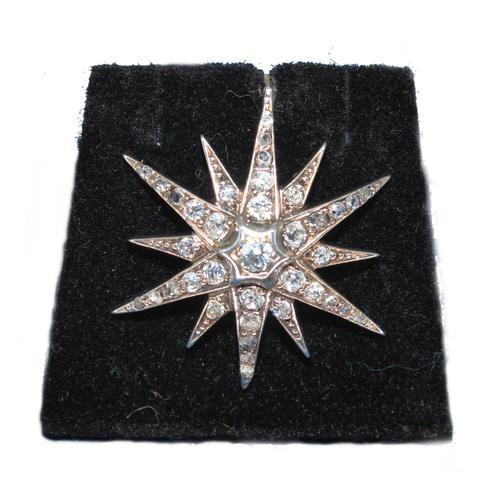 Diamond Star Pendant Set with Old Cut Diamonds (1 of 6)