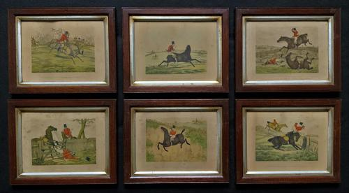 Set of Six 19thc Oak framed Humorous Coloured Sporting Hunting Engraving's (1 of 14)