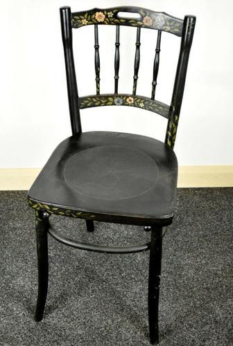 Bentwood Vintage Ebony / Black Floral Print Chair (1 of 9)