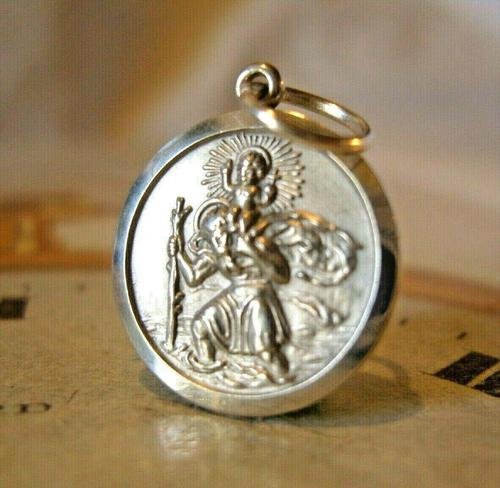 Vintage Pocket Watch Chain Silver St Christopher Fob 1970s Dainty Silver Fob (1 of 7)