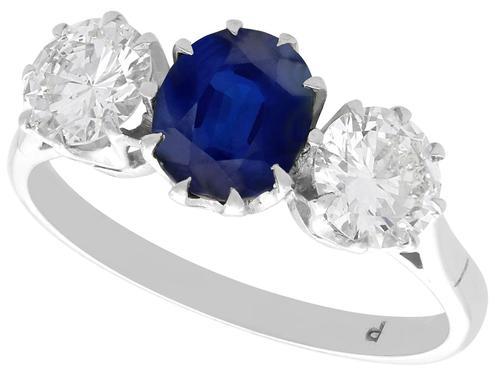 1.80ct Sapphire & 1.35ct Diamond, 18ct White Gold Trilogy Ring c.1935 (1 of 9)