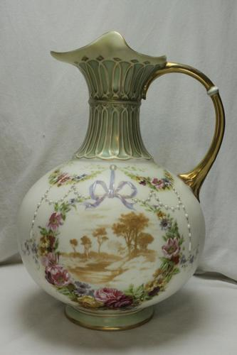 Painted & Gilded Parian Jug or Ewer (1 of 4)
