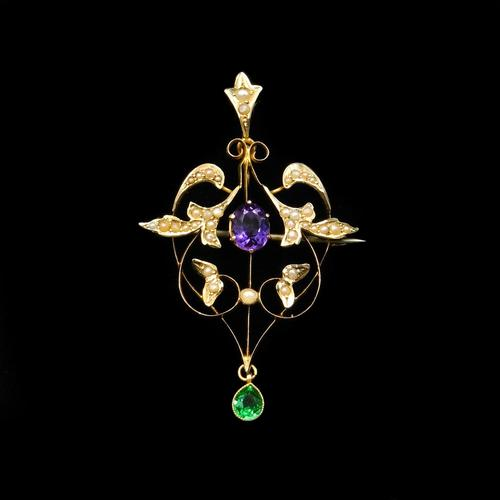 Antique Edwardian Amethyst and Pearl Lavalier 9ct 9K Gold Pendant and Brooch (1 of 10)