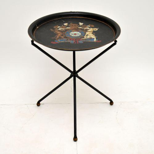 Antique French Enamelled Tole Folding Side Table (1 of 8)