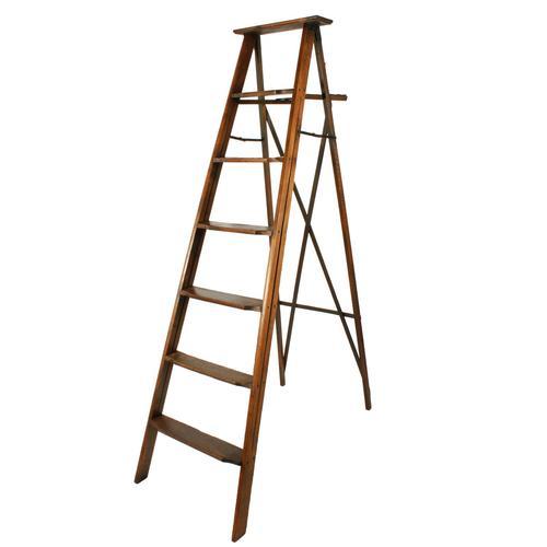 Edwardian Oak Library Ladders (1 of 7)