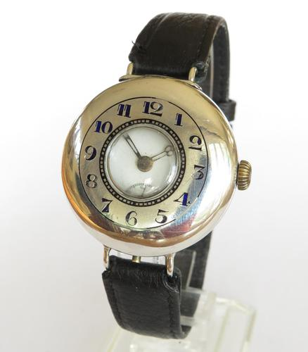 Antique silver half hunter wrist watch (1 of 7)