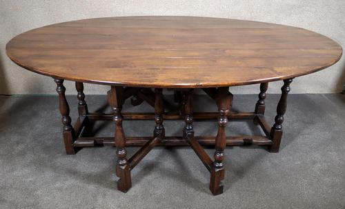 Large Oak Drop Leaf Table, Gate Leg Table, Dining Table - Seats Eight Persons (1 of 9)