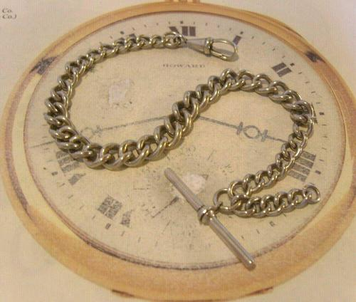 Antique Pocket Watch Chain 1890 Victorian Chunky Silver Nickel Albert With T Bar (1 of 11)