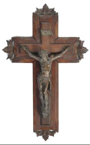 19th Century Black Forest Wooden Crucifix with Metal Corpus Christi (1 of 2)