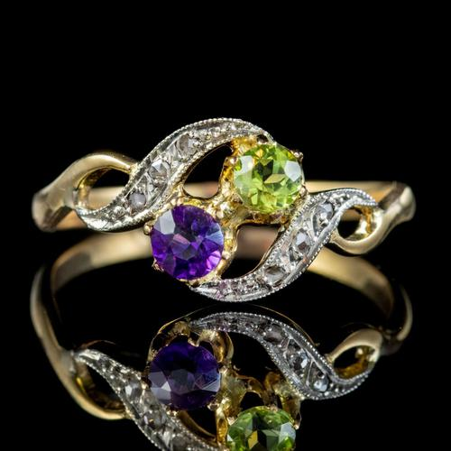 Antique French Suffragette Twist Ring 18ct Gold Amethyst Diamond Peridot Circa 1915 (1 of 7)