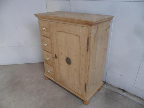 Victorian Antique Pine 4 Drawer Kitchen Food Storage Cupboard to wax / paint (1 of 11)