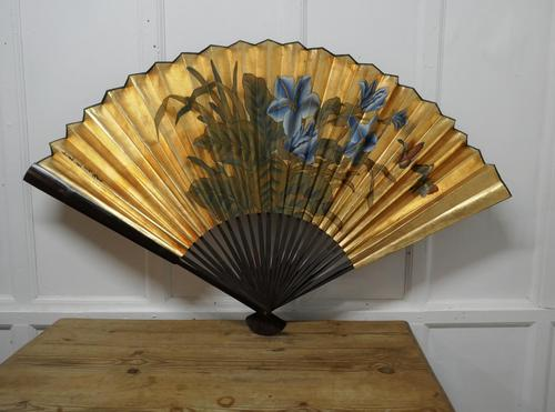 5ft Vintage Oriental Hand Painted Gold Wall Fan with Butterflies (1 of 10)
