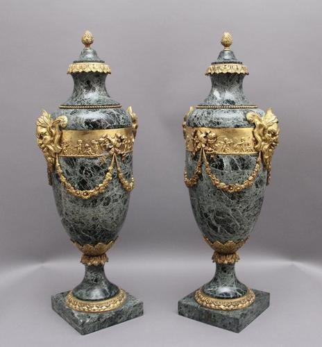 Pair of 19th Century French Marble & Cassoulet Urns (1 of 13)