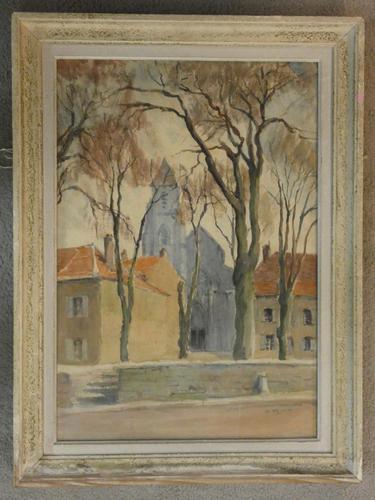 D Richier - Watercolour - French Village Scene (1 of 3)